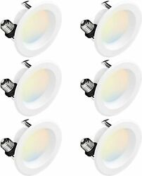 HYPERIKON 4quot; LED Recessed Lighting Color Temperature Changing 5000K 9W 6 Pack