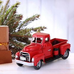 Christmas Decor Vintage Metal Classic Pickup Red Truck w Tree Farm House Rustic $16.64