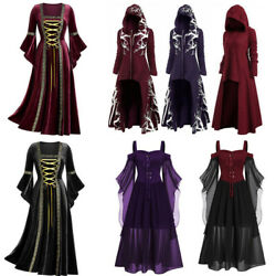 Medieval Long Black Gothic Dress Women Hooded SteamPunk Style Dresses For Women