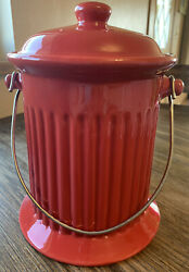 Compost Bin Kitchen Counter Top Food Scrap Container Red Ceramic Handled Pail $44.88