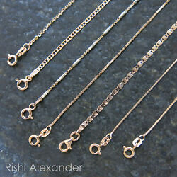 REAL Unique Rose Gold Jewelry SOLID Rose Sterling Silver Chain Italian Necklace $12.99