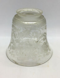 "ANTIQUE SHADE Victorian Etched Clear Handblown Glass 4"" Tall 4 5 8"" Diameter $34.50"