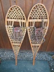GREAT VINTAGE Snowshoes 49quot; Long x 14quot; Leather Bindings For DECORATION $48.89