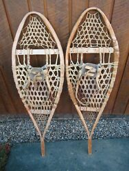 GREAT VINTAGE Snowshoes 44quot; Long x 13quot; Leather Bindings For DECORATION $48.88
