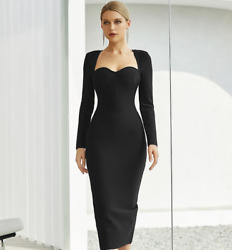 NEW DESIGNER BLACK LONG SLEEVE CLASSIC BANDAGE DRESS SQUARE NECK SWEETHEART