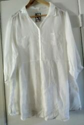 Johnny Was White Sheer Up Button Pleated Pockets Silk Blend Tunic Large $49.99