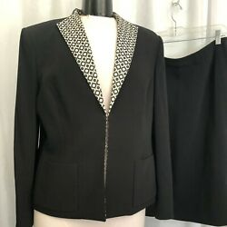 Albert Nipon Petite Women#x27;s Black Skirt Suit Size 14P $56.00