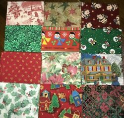 Lot of 12 Christmas Holiday Fat Quarters Cotton Quilt Fabric 3 Yds FREE SHIP #1 $17.99