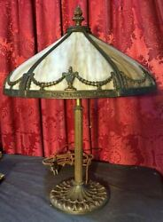 VINTAGE ANTIQUE BRADLEY amp; HUBBARD MILLER SLAG GLASS TABLE LAMP $675.00