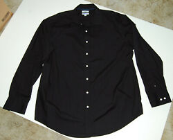 Mens Croft and Barrow 2X Easy Care Button Down Long Sleeve Classic Shirt Black $9.00
