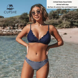 Cupshe Bikini Cute and Sexy Blue Scalloped amp; Stripe Sets Mid Waist S M L XL $22.95