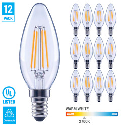 12 Pack LED 60W Chandelier Filament B11 Clear Bulb Candelabra E12 Warm White $19.95