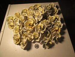 XBB Lot of 10 Yellow Capodimonte Roses Porcelain Lamp Chandelier Flowers $29.99