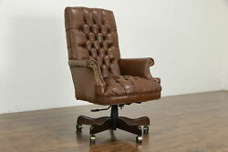 Tufted Leather Swivel Adjustable Vintage Desk Chair #35884 $795.00