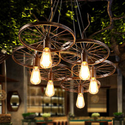 Rustic Hanging Light Wagon Wheel Chandelier Cafe Bar Ceiling Pendant Fixtures $101.00