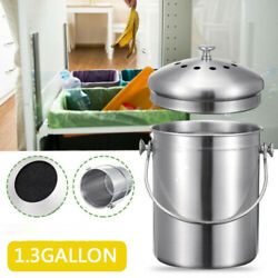 1.3 Gallon Stainless Steel Compost Bin Bin with Lid For Kitchen stylish canister $21.49