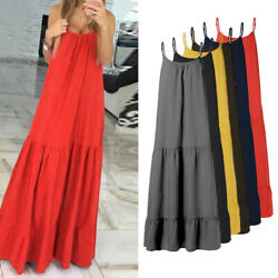 US STOCK Womens Summer Strappy Beach Long Dress Solid Vintage Maxi Baggy Dresses $15.63