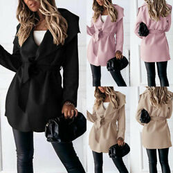 Short Jacket Ladies Trench Coat Outwear Overcoat Fashion Long Sleeve Solid Color $30.96