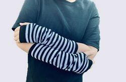 Long Arm Warmers Ships from USA Fingerless Gloves Striped Punk Gothic Alt Emo $3.99