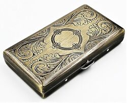 Victorian Style Cigarette Case Double Sided King amp; 100s Etched Pattern 4quot;x2quot; AB $10.95
