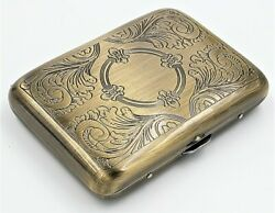Classic Metallic Double Sided King Cigarette Case Etched Antique Brass $9.99