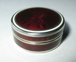 SMALL ANTIQUE VICTORIAN FRENCH STERLING SILVER RED GUILLOCHE ENAMEL PILL BOX POT $199.00