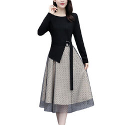 Womens Autumn Long Sleeve Midi A Line Dress Casual Slim Evening Party Dresses US $20.80