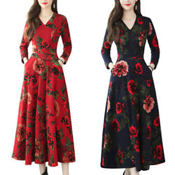 Womens Floral Long Sleeve V Neck Swing Maxi Dress Ball Gown Formal Party Dresses $18.52
