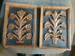 PAIR Vintage MID CENTURY MODERN 3D Carved Wood Framed 10quot; x 7quot; Floral Wall Art $29.95