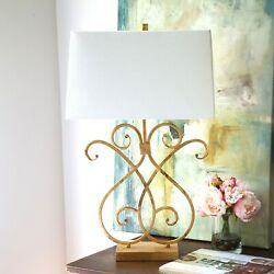 Contemporary Table Lamp quot;Faux Iron gate Piece quot;w Antiqued Gold Leaf finish $225.00
