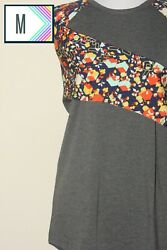 NWT LuLaRoe LLR Medium Gray Bodice Floral Sleeve RANDY T Shirt Raglan Top Med $15.99