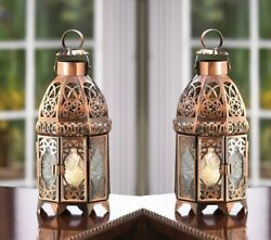 2 COPPER MOROCCAN CANDLE HOLDER LANTERNS WEDDING TABLE DECORATION CENTERPIECES $46.00