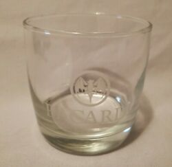Bacardi Rum Cocktail On The Rocks Lowball Glass Etched Bat Logo Design Barware $19.00