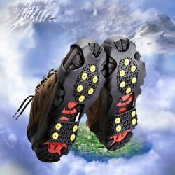 10 Studs Non slip Snow Cleats Shoes Boots Cover Step Ice Spikes Grips Crampons $10.09