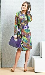 DRESS COCKTAIL WEAR TO WORK STRETCH LONG SLEEVE MADE IN EUROPE GREEN S M L XL $89.00