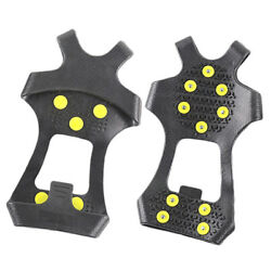 10 Studs Universal Ice No Slip Snow Shoe Spikes Grips Cleats Crampons 1 Pair $11.36