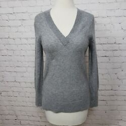 Halogen V Neck Long Sleeve Cashmere Sweater In Grey Heather NWT $29.99