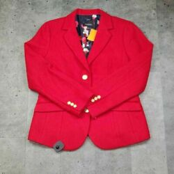 Talbots Womens Suit Jacket Red Wool Blend Lined Long Sleeve Button Blazer 10 $31.99