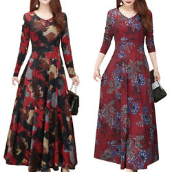 Womens Retro Floral Long Sleeve Swing A Line Dresses Casual Party Maxi Dresses $16.52