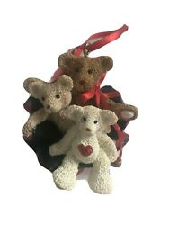 Christmas Ornament Resin Bears Sitting In Santa's Bag Country Rustic Decorations $4.99