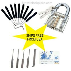 9 pc lock set transparent lock card case w picks all included SHIPS FROM US $12.99