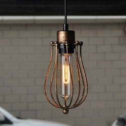 Rustic Pendant Ceiling Light Retro Hanging Ceiling Fixture Wire Cage Industrial $19.99