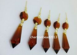 38MM14MM LARGE AMBER CHANDELIER GLASS CRYSTALS LAMP PRISMS PARTS HANGING DROPS $11.69