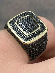 Mens Real Solid 925 Sterling Silver 14k Gold Oxidized Ring Black Diamond Iced $40.47