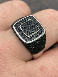 Mens Real Solid 925 Sterling Silver Oxidized Ring Black Diamond Iced Hip Hop $40.47