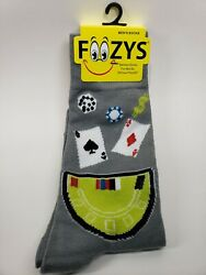 Foozy Poker Night Gambling Cards Novelty Size 6 12 Men's Crew New Tags GRAY NEW $5.95