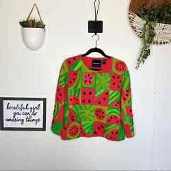 Michael Simon Womens Size Large Novelty Pink Green Watermelon Cardigan Sweater $65.00