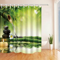 Zen Flowing Water Stacked Stones Fabric Bathroom Shower Curtains amp; Hooks 71In $22.94