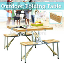 Portable Foldable Camping Picnic Table with 4 Chairs Set Outdoor Garden BBQ US $86.99
