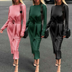 Womens Long Sleeve Silky Satin Bodycon Dress Cocktail Party Gown Maxi Dresses US $24.43
